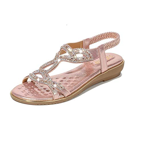 YOcheerful Bohemian Summer Shoes Ladies Crystal Flat Sandals Beach Peep Toe Casual Shoes Pink