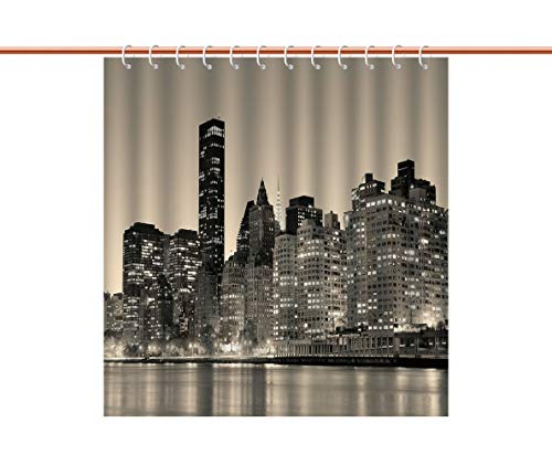 Beautiful Shower Curtain [ New York,Manhattan Skyline at Night East River Panoramic Famous City Urban Life in USA Decorative,Sepia Black ] Water and Mildew Resistance Kids Shower Curtain ()