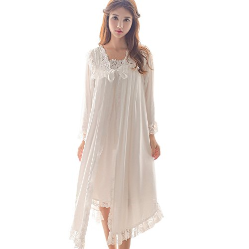 Womens Victorian Nightgown Vintage 2 Pcs Sleepwear Nightdress Robes Royal Pajamas Lounge Wear (White)