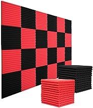 "24 Pack Acoustic Panels Studio Foam Wedges 1"" X 12"" X 12"" Soundproof Studio Foam for Walls Soun"