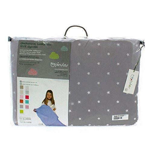Pirulos 43400520 - Protector de cuna de microfibra, color blanco y gris