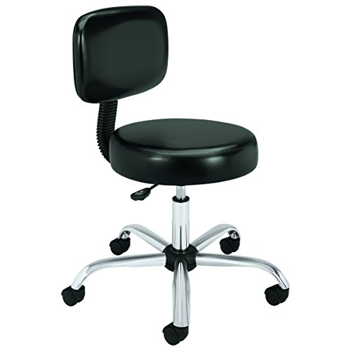 HON Medical Stool - Vinyl Exam Stool with Back, Black (HMTS11) by HON