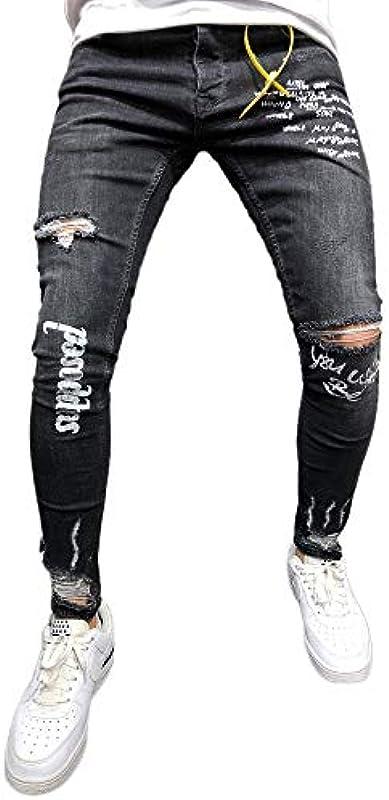 Męskie jeansy Skinny Superenge w kolorze spranej czerni z rysami na kolanach od Allence: Odzież