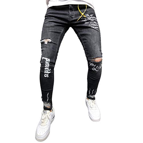 WOCACHI Final Clear Out Mens Jeans Denim Pants Elastic Ripped Distressed Hole Casual Trousers Gym Winter Dungarees Skinny Pocket Autumn Overalls (Black, XXX-Large) -