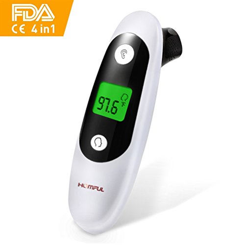 Ear Thermometer with Forehead Function, Homful Infrared Digital Thermometer LCD with Backlit FDA CE Proved, Clinically Calibrated Medical Thermometer with Fever Alarm for Baby Kids Adults (Black)