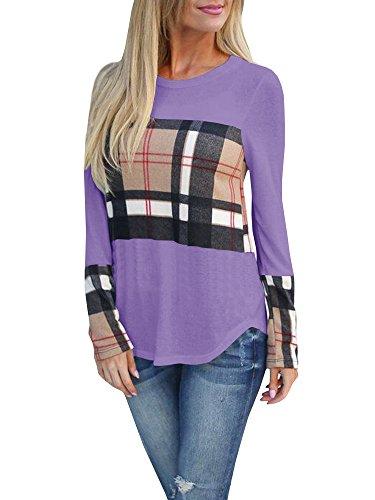 Tutorutor Womens Plaid T Shirts Color Block Long Sleeve Casual Patchwork Blouses Tops Purple