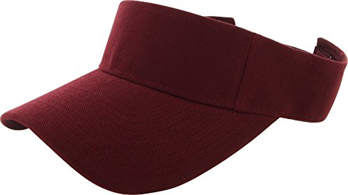DealStock Plain Men Women Sport Sun Visor One Size Adjustable Cap (29+ Colors) (Maroon) -
