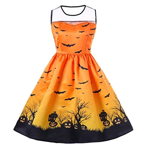 DEATU Ladies Halloween Dress, Teen Girls Womens Pumpkin Patchwork Printed Vintage Gown Party Swing Dress(C-Yellow,S)