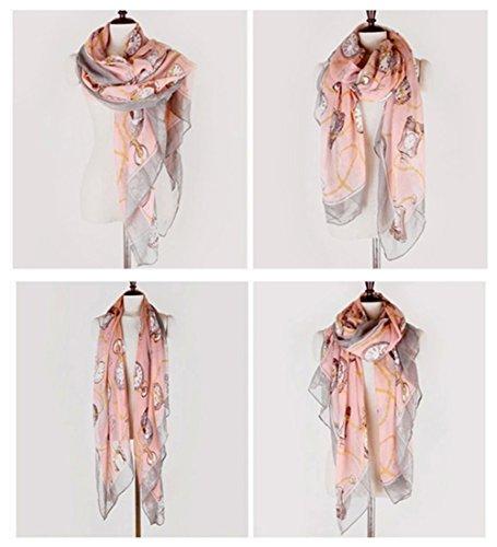 Dealzip Inc Retro Women's Ladies Girls Pink Watch & Clock and Chains Pattern Printed Design Long Wrap Scarf Shawl Muffler Autumn