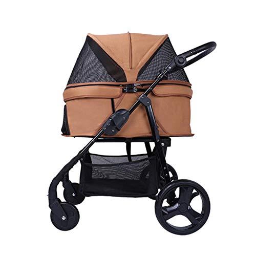 Deluxe Four Wheels Pet Stroller Adjustable armrest Pet cage Easy Fold Storage Basket Travel - Beverage Deluxe