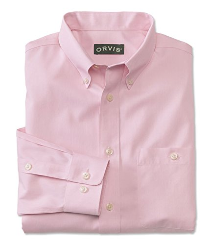 ton Wrinkle-Free Pinpoint Oxford Long-Sleeved Shirt, Pink, X Large (Wrinkle Free Pure Cotton Shirt)