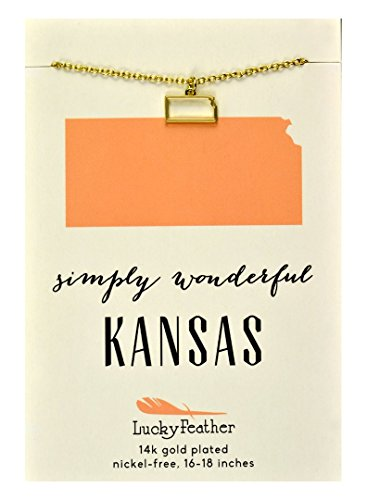 Ice Kansas - Lucky Feather Kansas Shaped State Necklace, 14K Gold-Dipped Pendant on Adjustable 16