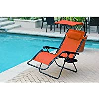 Jeco GC11 Oversized Zero Gravity Chair with Sunshade and Drink Tray, Orange