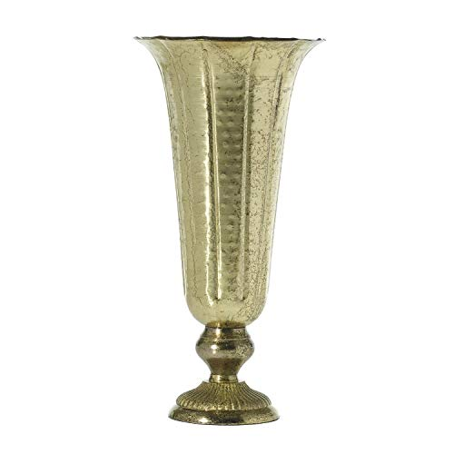 (Accent Lita Metal Fluted Vase in Distressed Gold - 18