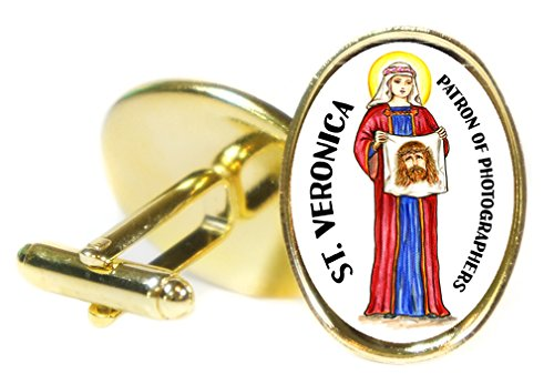 St Veronica Patron Saint of Photographers 18x24mm (3/4'' X 1'') Oval Gold Pair of Cuff Links by Artisan Courtyard