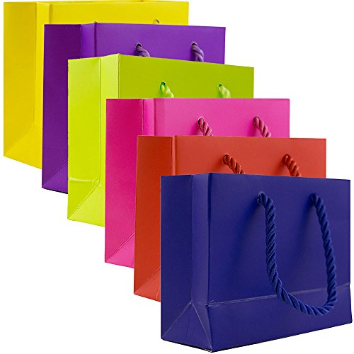 JAM Paper Assorted Gift Bags Set - Tiny (5 x 2 x 4 Inches) - Primary Colors - 6 Mini Bags/Pack