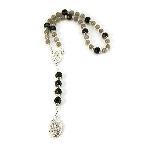 (Silver Inches Catholic Prayer Beads St Michael Protector Small Chaplet Labradorite Gemstone)