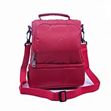 Small Cooler Tote Bag Lunch Box Insulated Thermo Bento with Shoulder Strap Picnic Camping Eco Reusable Grocery Organizer Container Nylon Waterproof Backpack Large Capacity (For Women Girl Kids Adult)