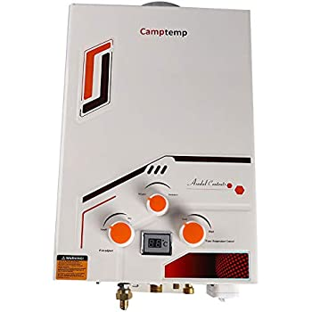 Camptemp Propane Tankless Water Heater,1.58GPM/6L Indoor&Outdoor Portable Gas Hot Water Heater.Easy to Install,Low Pressure Startup,Overheating Protection,Digital Display With Shower Head,Lightweight
