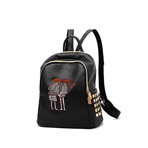 NICOLE&DORIS Moda Bolsa para la escuela Viajar Mochila Mujer Bolsa de hombro Cartera Chicas PU Cuero Negro Negro 6