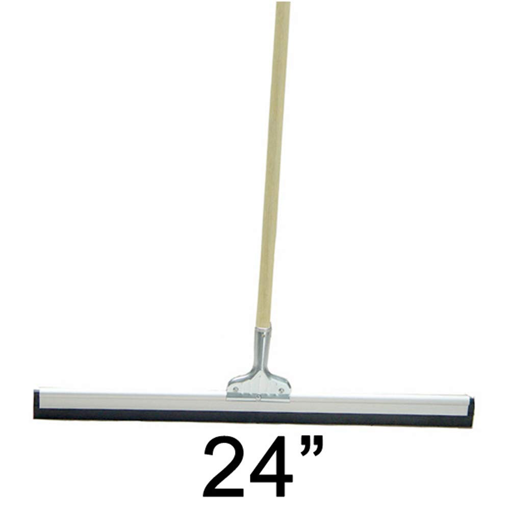 Super Duty Janitorial Floor 24'' Squeegee Straight with Long Wood Handle Scratch Resistant Glass Cleaner for Window, Car, Home, Shower Multipurpose Easy Grip Professional Commercial Mop Metal Frame