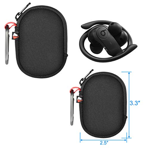 """TXEsign Carabiner Carrying Pouch Case Compatible with AirPods Pro/AirPods/Powerbeats Pro Wireless Bluetooth Headset (3.3"""" x 2.5"""", Black)"""
