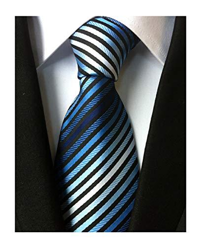 Men's Stripe Blue Black White Silk Tie Formal Soft Necktie Best Fathers day Gift ()