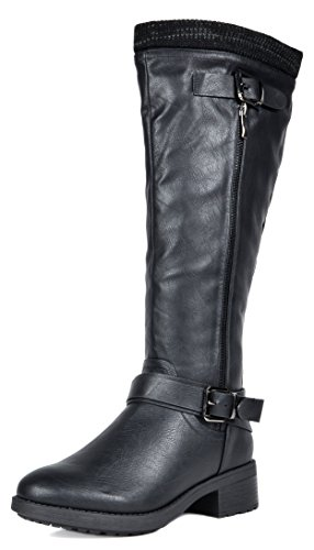 DREAM PAIRS Women's Turtle Black Knee High Motorcycle Riding Winter Boots Size 9 M US (Winter Quilted Boots)