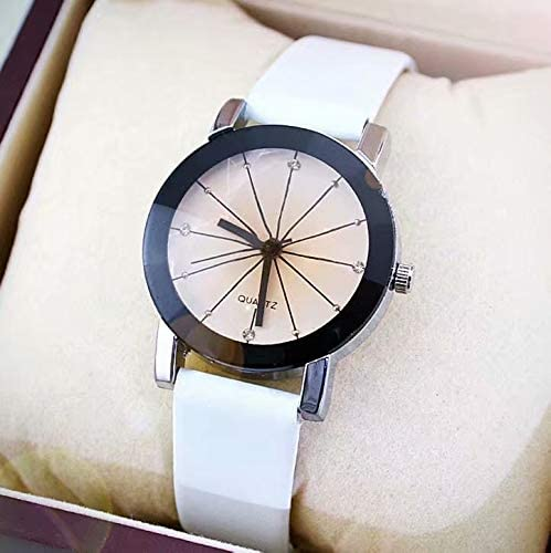 Relojes de Mujer, Relojes de pulsera mujer banda de cuero relojes de acero inoxidable para mujeres- Estilo de pareja
