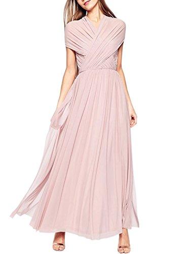 Dress Wedding Sleeveless Pink Prom Neck Gowns V Bridesmaid Fashion Evening Women's 1PqwtHUt