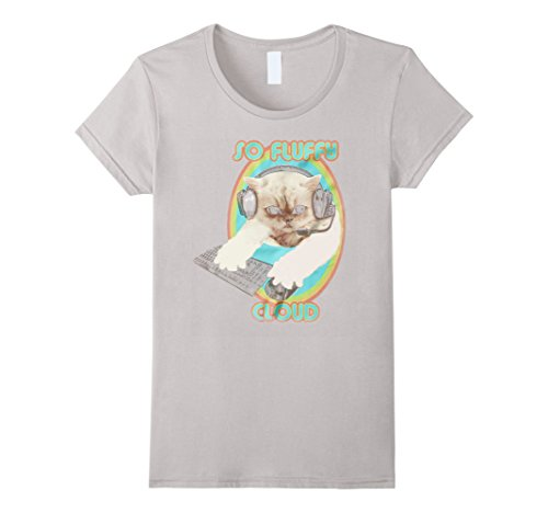 Women's So fluffy cloud cat t shirt Small Silver (Cloud Cat)