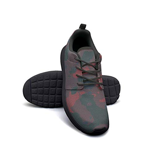 Camo Army Camouflage Woodland Black Ladies Sneakers for Women Slip Quick-Drying Running Shoes ()