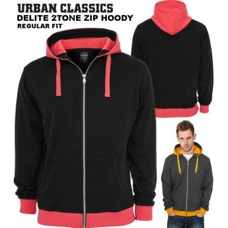 Urban Classics - Delite 2Tone Zip Hoody - Schwarz Infrarot TB254