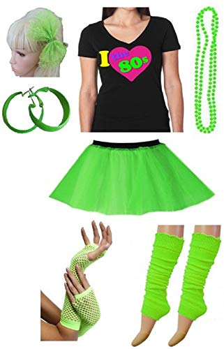 PartyStarz Womens 80s Costume Accessories -Tutu Skirt, Leg Warmer, Mesh Glove, Necklace, Earrings, Hairbow, -