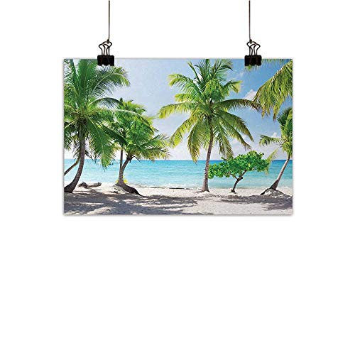 Anzhutwelve Beach Abstract Painting Palm Leaves in Catalina Island Dominic Seashore Coastal Panoramic Picture Natural Art Green Aqua Coconut 24