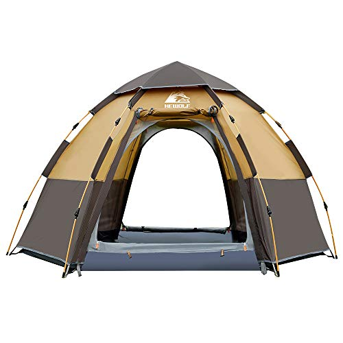 Hewolf Camping Tents 2-4 Person [Instant Tent] Waterproof [Pop up Tent] Quick Set up Family Beach Dome Tent UV Protection with Carry Bag (Coffee)