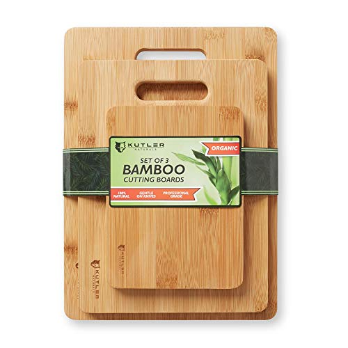 KUTLER Set of 3 Organic Bamboo Cutting Boards w/Handles - Kitchen Wood Chopping Blocks for Carving Meats, Vegetables, Breads & - Oak Breadboard