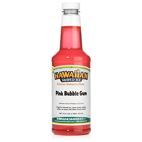 - Hawaiian Shaved Ice Premium Snow Cone Syrup Flavor, Pink Bubble Gum, Pint