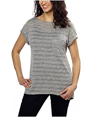 Calvin Klein Jeans Women's Short Sleeve Knit Top (X-Small, Iron Heather)