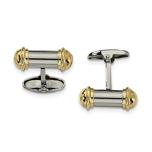 JewelryWeb Stainless Steel Polished Yellow IP-Plated 24k Gold Plating Cuff - Ip Plating Cufflinks