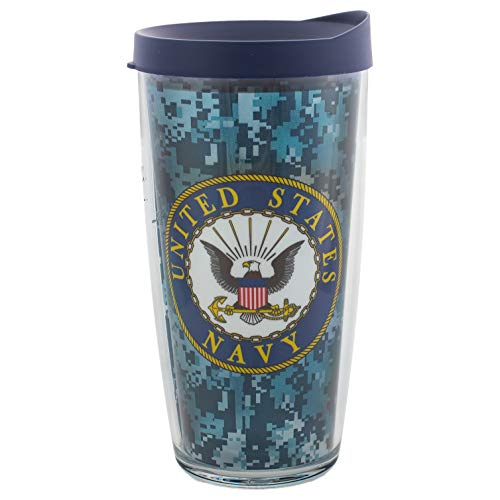 US Navy Lid - Camo Insulated 16 Oz Clear Travel Tumbler Mug with Navy -