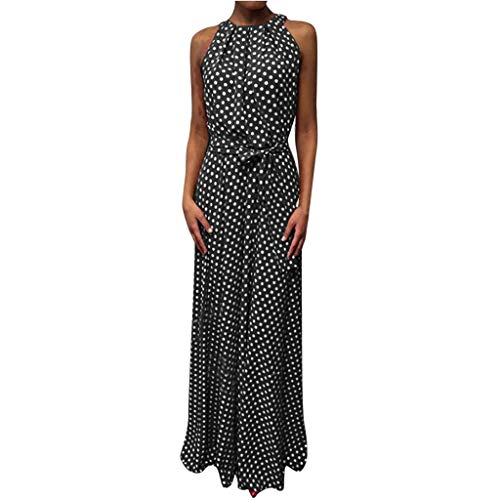 Qingell Hot !Women Sexy Dot Printing Sleeveless O Neck Long Dress Evening Party Dress Print Polka Dot Round Neck Dress Black