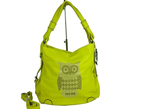 VALILAI 20216 little OWL, große Damen Tasche, Schultertasche in versch. Farben 37x39x16 (gelb yellow)