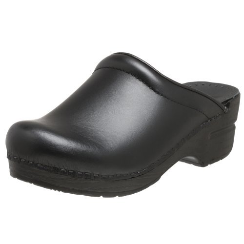 Dansko Womens Sonja Box Leather Clog Black Box