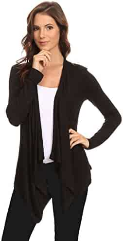 0056ace94cc Sharon s Outlet Women s Long Sleeve Cardigan Short Open Front Made in USA   Black (1XL