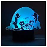 3D LED Cute Pug Dog Night Light Touch Table Desk Optical Illusion Lamps 7 Color Changing Lights Home Decoration Xmas Birthday Gift