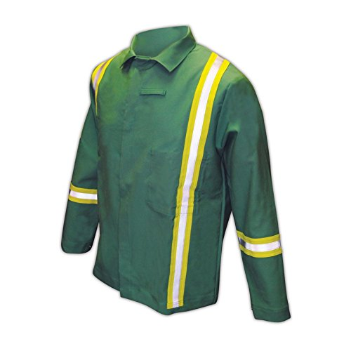 Magid Glove & Safety IND2530HV Magid IND2530HV Arc-Rated 12 oz. 100% FR Cotton Jacket with Hi-Viz Stripes by Magid Glove & Safety