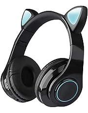 CHYA Bluetooth hoofdtelefoon,Draadloze hoofdtelefoon Bluetooth Headset, Cat Ear Oortelefoon LED Lights 400 mAh met microfoon voor PC Laptop Telefoon