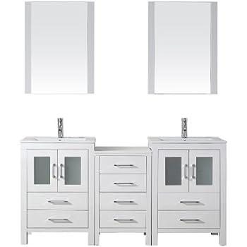Virtu Usa Kd 70066 C Wh Modern 66 Inch Double Sink Bathroom Vanity Set With Polished Chrome