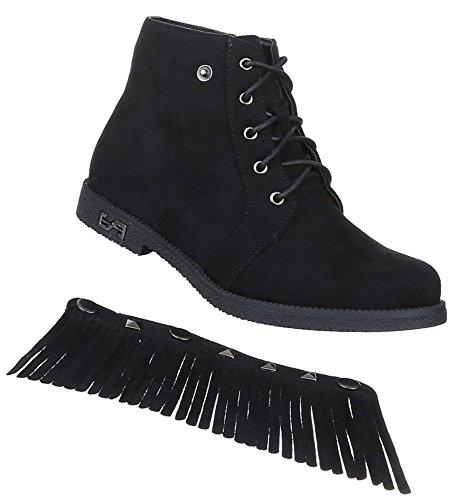 Damen Stiefeletten Schuhe Schnürer Boots Fransen Schwarz Camel Grau 36 37 38 39 40 41 Schwarz
